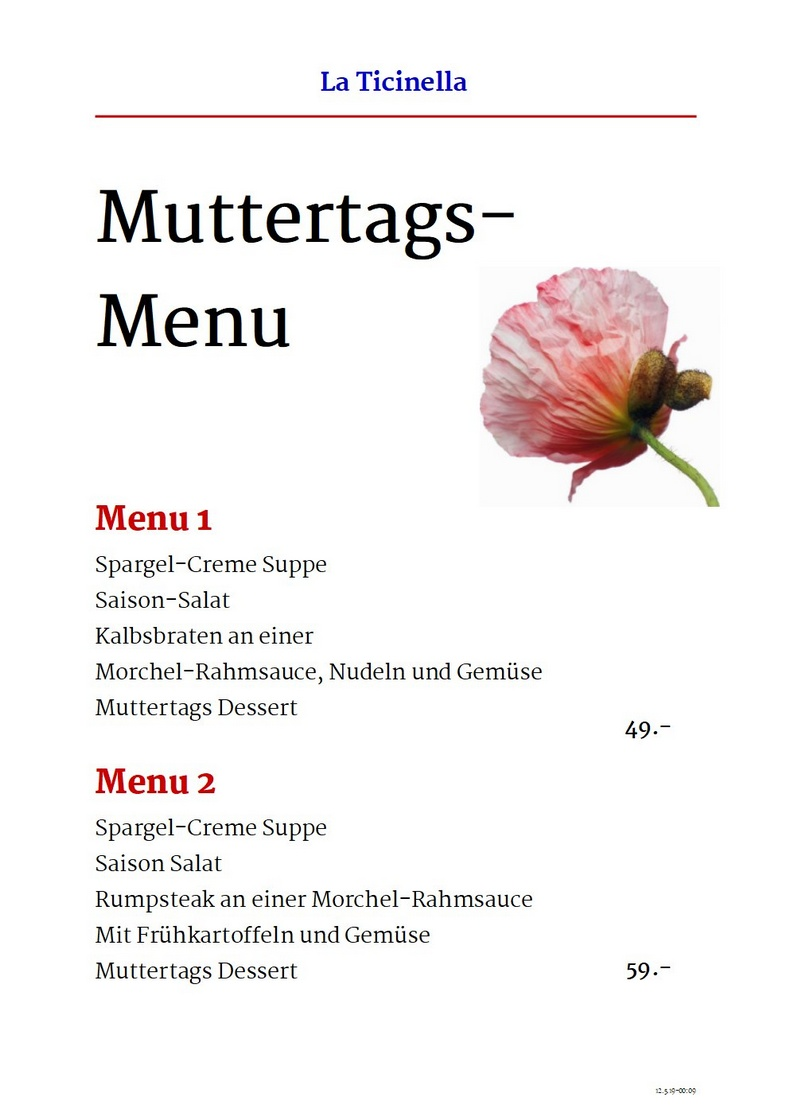 Muttertags Menue, KLICK für PDF-Download